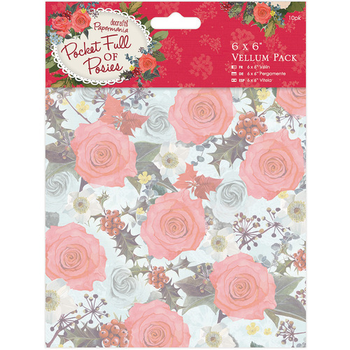 """Paper Crafts > Paper > Papermania Pocket Full Of Posies Vellum 6""""X6"""" 10/Pkg: A Cherry On Top"""