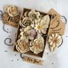 Sandstone Boxed Flower & Tag Set - Prima A great value 32 pieces including tags (1.75  x 3 )! Our boxed flower sets are filled with high quality Prima flowers. An exceptional value for classes, mini albums and more!