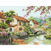 """13""""X10"""" 14 Count - Village Canal Counted Cross Stitch Kit"""