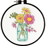 """6"""" Round 14 Count - Learn-A-Craft Summer Flowers Counted Cross Stitch Kit"""
