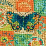 "5""X5"" Stitched In Thread - Butterfly Pattern Mini Needlepoint Kit"