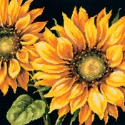 "14""X14"" Stitched In Wool - Dramatic Sunflower Needlepoint Kit"