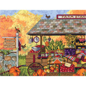 """16""""X12"""" 14 Count - Buck's County Farm Stand Counted Cross Stitch Kit"""