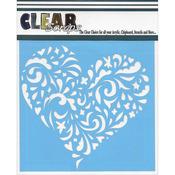 "Swirl Heart - Clear Scraps Stencils 6""X6"""