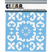 """Mexican Tile - Clear Scraps Stencils 12""""X12"""""""