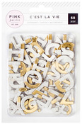 Brick & Gold Foil Chipboard Alpha - Cest La Vie - Pink Paislee