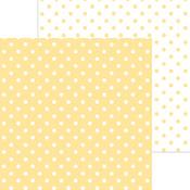 "Lemon - Doodlebug Petite Swiss Dot Cardstock 12""X12"""