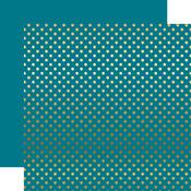 Gold Foil Blue Paper - Dots & Stripes Foiled - Echo Park