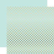 Gold Foil Light Mint Paper - Dots & Stripes Foiled - Echo Park
