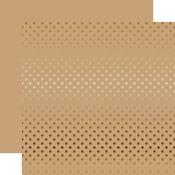 Copper Foil Tan Paper - Dots & Stripes Foiled - Echo Park