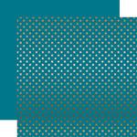Copper Foil Blue Paper - Dots & Stripes Foiled - Echo Park