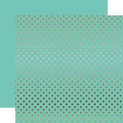 Copper Foil Mint Paper - Dots & Stripes Foiled - Echo Park