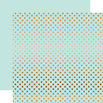 Copper Foil Light Mint Paper - Dots & Stripes Foiled - Echo Park