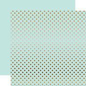 Copper Foil Light Mint Paper - Dots & Stripes Foiled - Echo Park