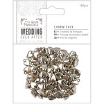 Antique Silver Finish Hearts 10mm X 15mm - Papermania Ever After Wedding Charms 100/Pkg