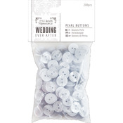 Pearl White 12mm - Papermania Ever After Wedding Buttons 200/Pkg
