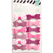 "Pink/White - Heidi Swapp Fabric Bows .5""X1.5"" 12/Pkg"