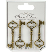 Large - Craft Consortium Always & Forever Metal Key Charms 4/Pkg