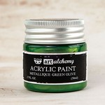 Metallique Green Olive Acrylic Paint - Art Alchemy - Finnabair