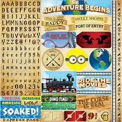Worlds Of Adventure Alpha Sticker Sheet - Reminisce