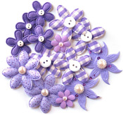 Purple Fabric Blossoms - Queen & Co