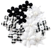 Black Fabric Blossoms - Queen & Co