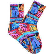 Colorful Dogs - Red - Laurel Burch Socks