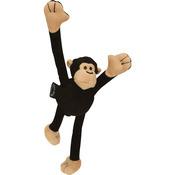 Black - GoDog Crazy Tugs Monkey With Chew Guard Large