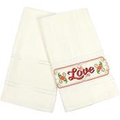 "Ecru - Aberdeen Velour Hand Towel 14 Count 16.5""X27"""
