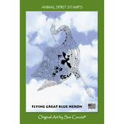 "Flying Great Blue Heron - EarthArt International Cling Stamp 4.25""X7"""