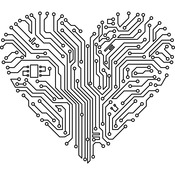 """Circuit Board Heart - Gourmet Rubber Stamps Cling Stamps 3.75""""X4.75"""""""