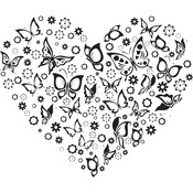 "Butterflies Heart - Gourmet Rubber Stamps Cling Stamps 3.75""X4.75"""