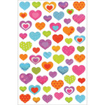 "Hearts - Glitter Gel Stickers 5.5""X8.25"""