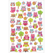 "Owls - Glitter Gel Stickers 5.5""X8.25"""