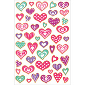 "Heart Fancy - Flocked Glitter Stickers 5.5""X8.25"" Sheet"