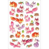 """Foxy Friends - 3D Pop-Up! Stickers 5.5""""X8.25"""" Sheet"""