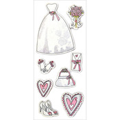"Beautiful Bride - Homemade Glitter Stickers 3""X6.5"" Sheet"