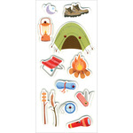 "Happy Camper - Homemade Glitter Stickers 3""X6.5"" Sheet"