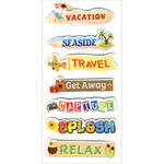 """Vacation Tags - Homemade Glitter Stickers 3""""X6.5"""" Sheet"""