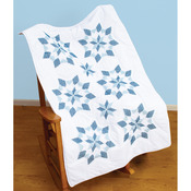"""XX Star - Stamped White Lap Quilt Top 40""""X60"""""""