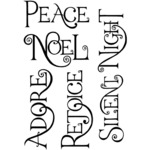 "Festively Curly Words - Crafty Individuals Unmounted Rubber Stamp 5""X3.5"" Pkg"