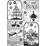 """It's A Christmassy World - Crafty Individuals Unmounted Rubber Stamp 3.5""""X5"""" Pkg"""