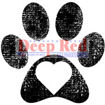 """Pawprint - Deep Red Cling Stamp 2""""X2"""""""
