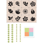 "Flower Garden - Hero Arts Mounted Rubber Stamp Mini Tub Set 3.25""X2.5"""