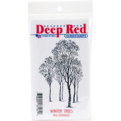 "Winter Trees - Deep Red Cling Stamp 2""X3"""