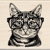 """Nerdy Cat - Inkadinkado Mounted Rubber Stamp 3""""X3"""""""
