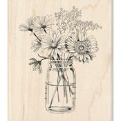 """Floral Mason Jar - Inkadinkado Mounted Rubber Stamp 3.5""""X4"""""""