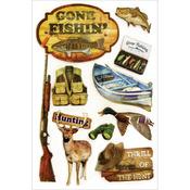 Gone Fishin' - Chipboard Glitter Stickers