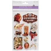 Cowgirl - Chipboard Glitter Stickers