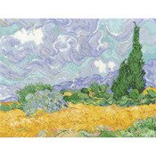 """11.5""""X9"""" 16 Count - Van Gogh's A Wheatfield W/Cypresses Counted Cross Stitch Kit"""